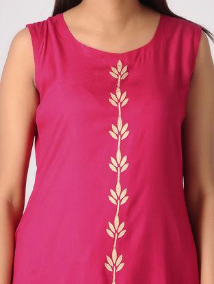 Pink Khari-printed Cotton Rayon Kurta