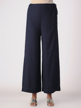 Navy Blue Tie-up Waist Cotton Rayon Palazzos