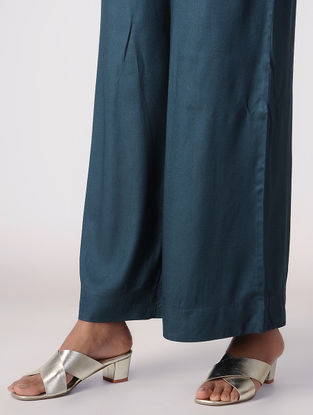 Teal Tie-up Waist Cotton Rayon Palazzos
