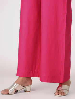 Pink Tie-up Waist Cotton Rayon Palazzos