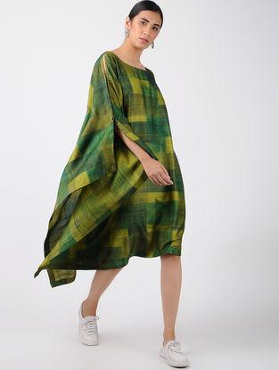 Green Printed Tussar Silk Asymmetric Dress