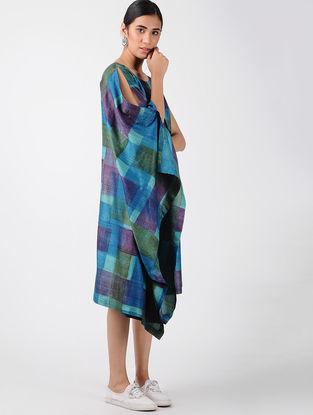 Blue Printed Tussar Silk Asymmetric Dress
