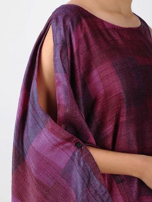 Pink-Purple Printed Tussar Silk Asymmetric Dress