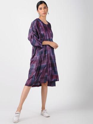 Purple-Blue Printed Tussar Silk Dress