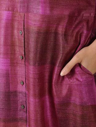 Pink-Red Printed Tussar Silk Dress