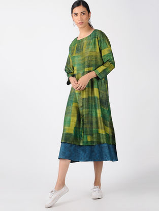 Green-Blue Printed Tussar Silk Dress