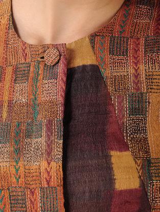 Mustard-Brown Printed Tussar Silk Top with Kantha Work