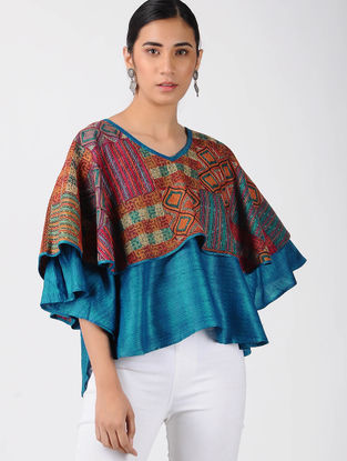 Blue Printed Tussar Silk Top with Kantha Work