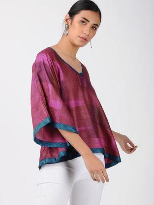 Pink-Red Printed Tussar Silk Top