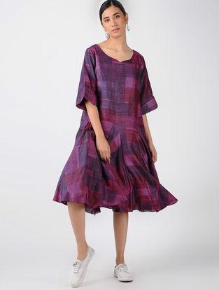 Purple-Pink Printed Tussar Silk Dress