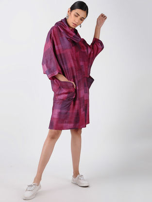 Purple-Pink Printed Tussar Silk Dress with Cowl Neck