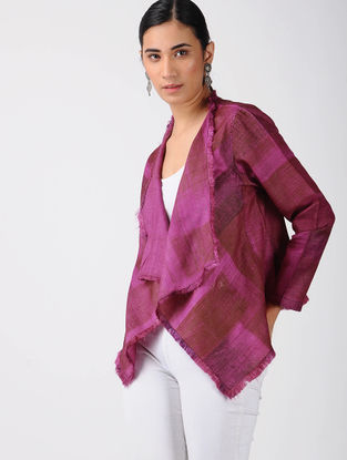 Pink-Red Printed Tussar Silk Jacket with Raw Edges