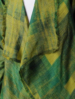 Green Printed Tussar Silk Jacket with Raw Edges