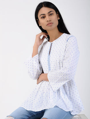 White Pleated Cotton Dobby Top