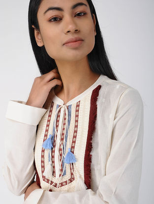 Ivory Cotton Dobby Tunic with Tassels