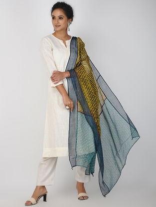 Yellow-Blue Block-printed Kota Doria Dupatta