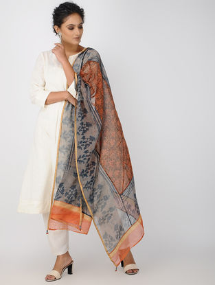 Red-Blue Block-printed Kota Doria Dupatta