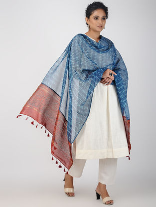 Blue-Red Ajrakh-printed Kota Doria Dupatta with Tassels