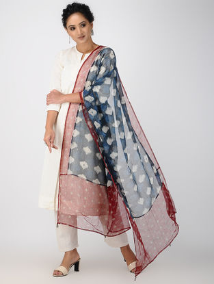 Blue-Red Block-printed Kota Doria Dupatta