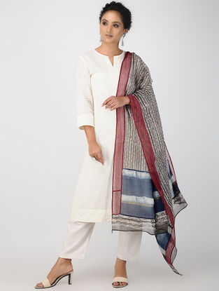 Grey-Blue Block-printed Kota Doria Dupatta