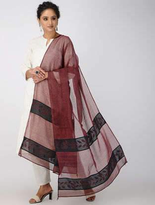 Red-Black Block-printed and Hand-embroidered Kota Doria Dupatta