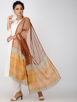 Red-Brown Block-printed Kota Doria Dupatta
