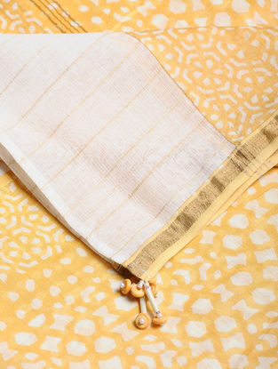 Yellow-Ivory Block-printed Kota Doria Dupatta with Zari