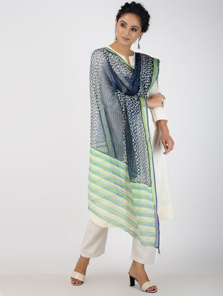 Blue-Green Block-printed Kota Doria Dupatta