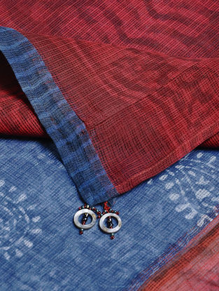 Blue-Red Block-printed Kota Doria Dupatta with Tassels