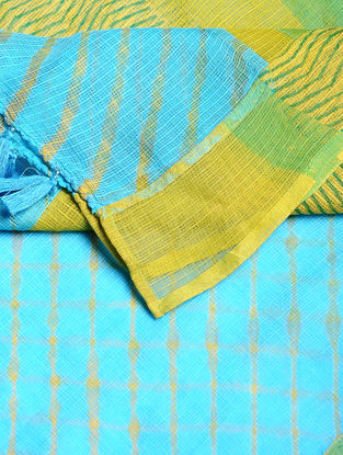 Yellow-Turquoise Leheriya Cotton Dupatta with Tassels