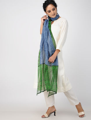 Green-Blue Block-printed Kota Doria Dupatta with Tassels