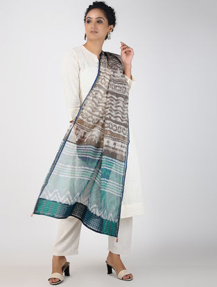 Kashish-Green Block-printed Kota Doria Dupatta