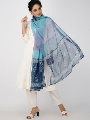 Blue-Ivory Block-printed Kota Doria Dupatta with Tassels