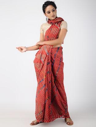 Red-Ivory Leheriya and Block-printing Kota Doria Saree