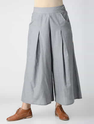 Grey Elasticated-waist Cotton Chambray Pleated Palazzos with Pockets