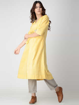 Yellow Cotton Chambray Kurta with Pleats
