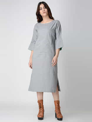 Grey Cotton Chambray Dress with Pockets