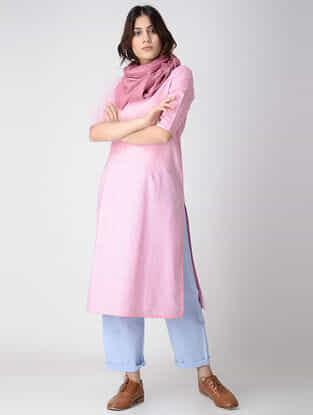 Pink Cotton Chambray Kurta