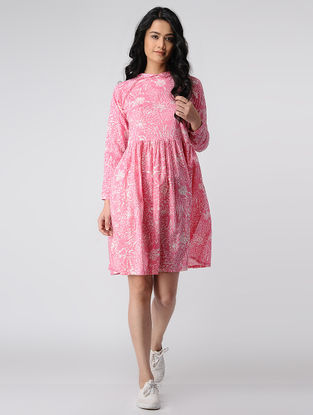 Pink-Ivory Printed Cotton Dress with Gathers