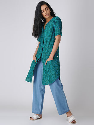 Green Printed Cotton Front-open Tunic with Pockets