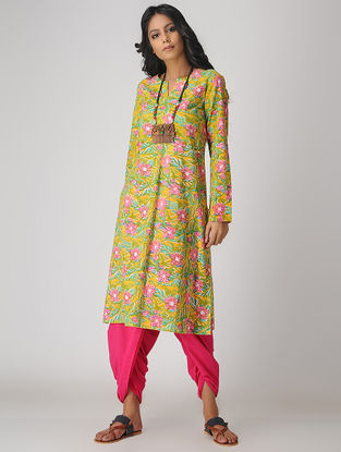 Yellow-Pink Printed Cotton Kurta