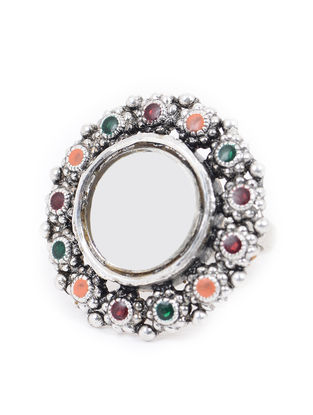 Multicolored Glass Silver Ring (Ring Size - 6.5)