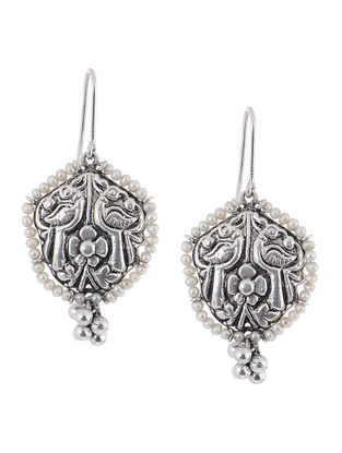 Pearl Silver Earrings with Floral Motif