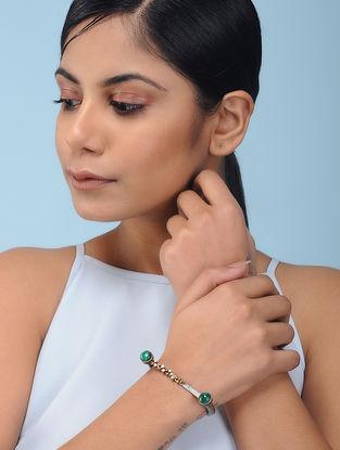 Malachite Dual Tone Silver Bracelet