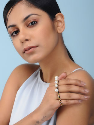 Dual Tone Silver Cuff with Pearls