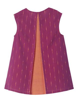 Magenta-Orange Ikat Slit Back Dress