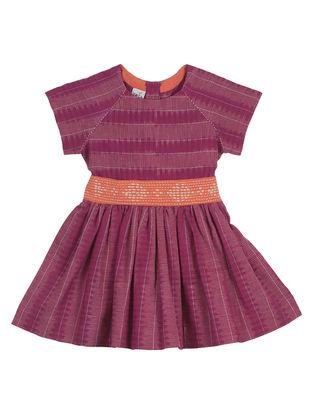 Magenta-Orange Embroidered Raglan Dress With Belt