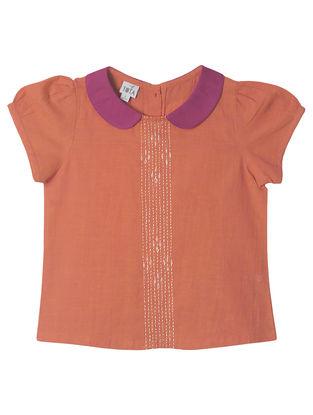 Orange-Magenta Hand Embroidered Ikat Peter Pan Collar Top