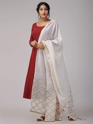 Ivory Chanderi Dupatta with Gota Patti Work