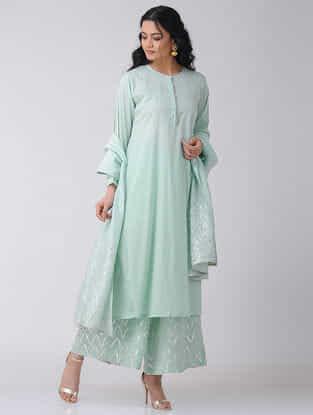 Aqua Cotton Mulmul Kurta with Gota Sleeve Hem